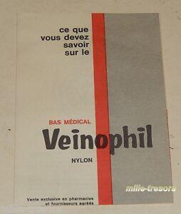 Ancien Dépliant publicitaire Bas Médical VEINOPHIL nylon