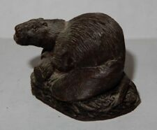 Vintage Cold Cast Bronze Beaver Animal Figure Jean Spouse