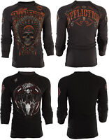 AFFLICTION Mens THERMAL Shirt REVERSIBLE American Customs APACHE Biker GREY $68