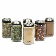 Adjustable Glass Spice Jars Set of 6 Premium Seasoning Shaker Rub Container