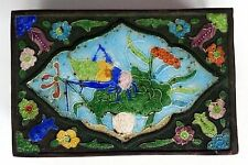 Antique 19th Century Chinese Decorated Cloisonne Cigarette Box & Match box cover