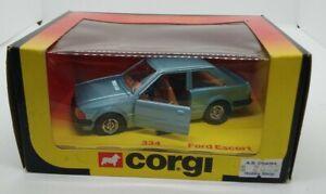 Corgi grey-blue Ford Escort #334 Made in Great Britain in 1981 w/original box