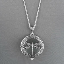 Antique Silver Chain Magnifying Glass Dragonfly Design Pendant Necklace