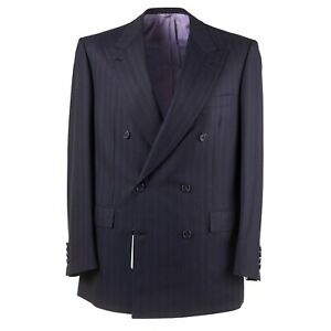 NWT $6500 BRIONI Modern-Fit Black and Purple Stripe Super 150s Wool Suit 48 R