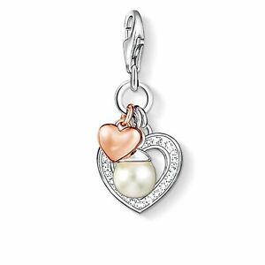 "Genuine THOMAS SABO Charm Pendant ""Hearts With Pearl"""