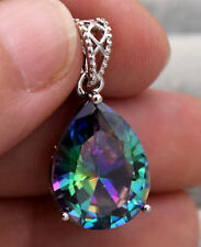 18K White Gold Filled - 16MM Mystic Waterdrop Topaz Cocktail Prom Gems Pendant