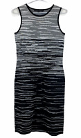 Cue in the City Womens Grey/Black Striped Sleeveless Knit Bodycon Dress Size S