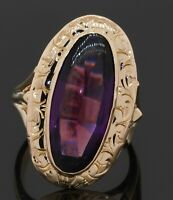 Heavy antique 14K gold 6CT (22.5 X 10mm) amethyst solitaire cocktail ring size 7