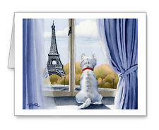 WEST HIGHLAND TERRIER IN PARIS Set of 10 Note Cards With Envelopes
