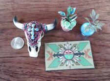 Dollhouse Miniature - Fairy Garden Decorated Steer Skull 2 plants & Welcome Mat