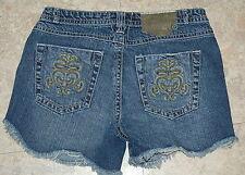 JR Womens Jean Shorts DESTROYED Blue Denim 7 POCKET FLARE Hege LOW RISE