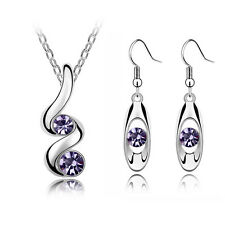 Stylish Wave Purple Jewellery Set Drop Earrings and Necklace with Pendant S353