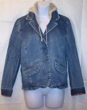 MOSSIMO Blue Jean Jacket Size XL Hooded Button Front Cotton Pockets Fitted Coat