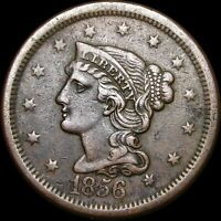 1856 Braided Hair Large Cent Type Penny---- NICE ---- #A094