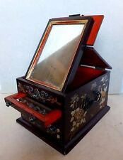 Lacquerware Ladies Antique Cosmetic Jewelry Box Two Mirrors China Circa.1930's