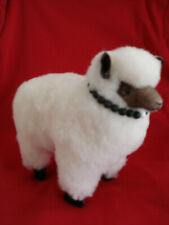 """Woolly Fat Sheep 11"""" Long Animal for Christmas Display or Putz- Real Wool Body"""