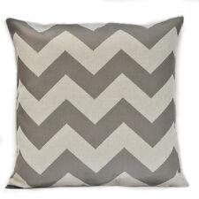Drak Grey Chevron Zig Zag Vintage Linen Cotton Cushion Cover Pillow Case 65x65cm