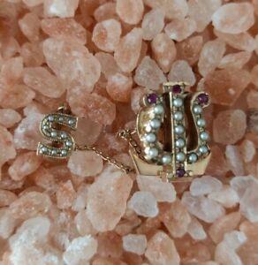 Alpha Kappa Psi 10 Kt Gold Rubies Seed Pearls Sorority Pin 1940's