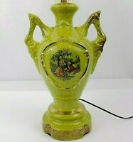 George and Martha Lamp Vintage Colonial Couple Hand Painted Green Urn 1940s-50s