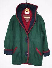 Womens Vintage 90's Wool COLORBLOCK Coat Hooded Herman Kay // S // w246