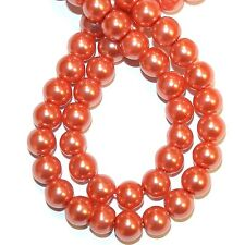 """G1231f Cranberry Red Pearl 8mm Round Pearlized Glass Beads 30"""""""
