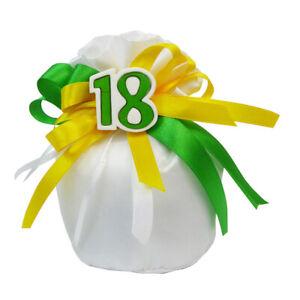 Bomboniera 18esimo Sacchetto Cotone Anni Verdi Applicazione 18 Gesso