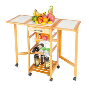 NEW Portable Rolling Drop Leaf Kitchen Storage Trolley Cart Island Sapele Color