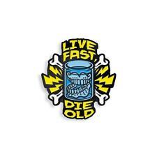 LIVE FAST DIE OLD SOFT ENAMEL BLACK NICKEL PLATED LAPEL PIN BY YESTERDAYS CO.