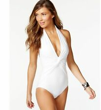 MICHAEL Michael Kors White Twist Front Halter One Piece Swimsuit 10 NWT NEW $110