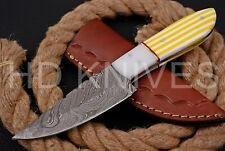 8 inch HD Custom fixed blade Damascus Art full tang Hunter skinner knife 127
