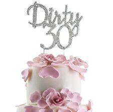 JennyGems - Dirty 30 Cake Topper - Elegant Rhinestone Sparkly Bling Ornament.