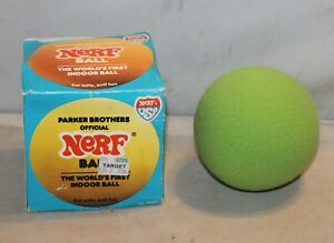 1984 Parker Brothers Official Nerf Ball with Box Neon Green Soft Indoor Official