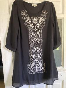 Ya Los Angelos Women's L Sheer Black Lined A-Line Dress W/ Cream Embroidery EUC