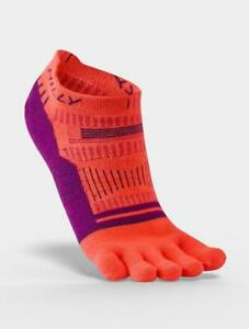 Hilly Toe Socks - Womens - Hot Coral/Grape/Charcoal - Socklet - From Ronhill