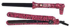 "Bebella Dual 18-25mm Curling & Flat Iron 1.25"" Ceramic Plates Pink Zebra"