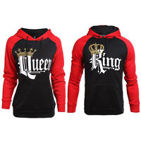 Women Men Couples Hoodie Hooded Plain Pure Pullover King Queen Print Top Sweater