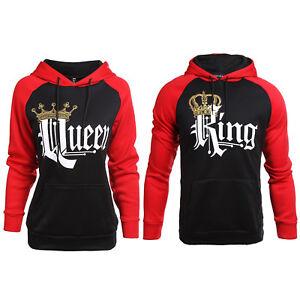 Men Women King and Queen Couple Hoodie Sweatshirt Jumper Pullover Shirt Top
