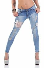 4457 Knackige Damen Röhrenjeans Hose Stretch-Denim Skinny Jeans Cut-outs