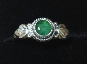 Bohemian Pagan Sterling Silver Natural Emerald Gem Cabochon Ring Leaf Design