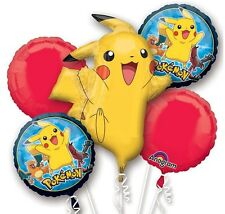 "Pokemon ""Pikachu""  Mylar Foil 5pcs Balloon Bouquet Happy Birthday Party Favor"