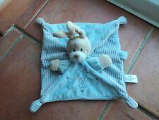 Doudou plat 4 noeuds chien bleu rayures étoiles avec attache tétine Simba Toys