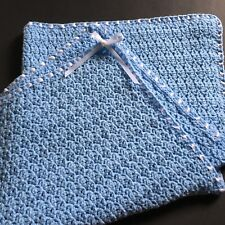 Beautiful NEWHandmade Crochet Baby Blanket Blue with White Ribbon FREE SHIPPING