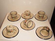 SET OF 6 VINTAGE RETRO ITALIAN PORZELLAN ESPRESSO COFFEE CUPS & SAUCERS