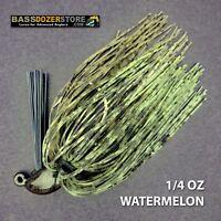 Bassdozer finesse PUNCH 'N FLIP jig. 1/4 oz WATERMELON weedless bass jigs