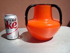 "Czechoslovakia Loetz Tango Large Orange & Black 6.5"" by 6.5"" Glass Vase"