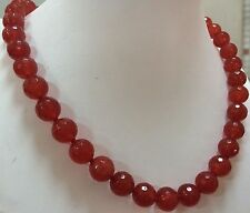 """Beads Gemstone Necklace 18"""" Aaa 10mm Faceted Red Ruby Round"""