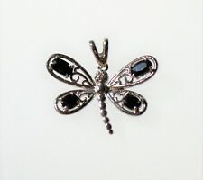 Great quality Butterfly silver tone with black & clear CZ stones PENDANT char