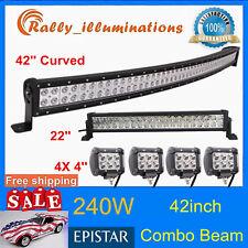 "42INCH 240W Curved LED Light Bar+22'' 120W FLOOD SPOT+4X4"" 18W Offroad Truck SUV"
