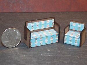 Dollhouse Miniature Sofa & Chair Snowman 1:48 Quarter Scale Y18 Dollys Gallery
