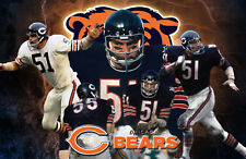 Chicago Bears Lithograph print of Dick Butkus  17 x 11